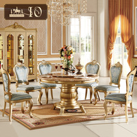 0113# European style High quality hand carved marble tables Dining room set marble slab round table