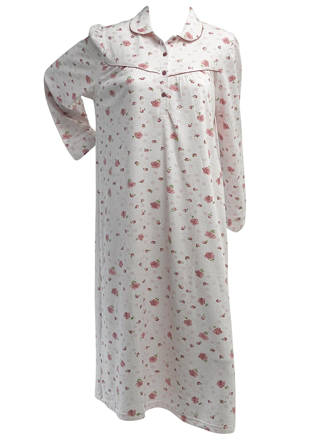 391d9f0371 Get Quotations · Waite Ltd Ladies Floral Rose Knitted Cotton Nightdress  Womens Long Sleeved Nightie Medium - XXL (