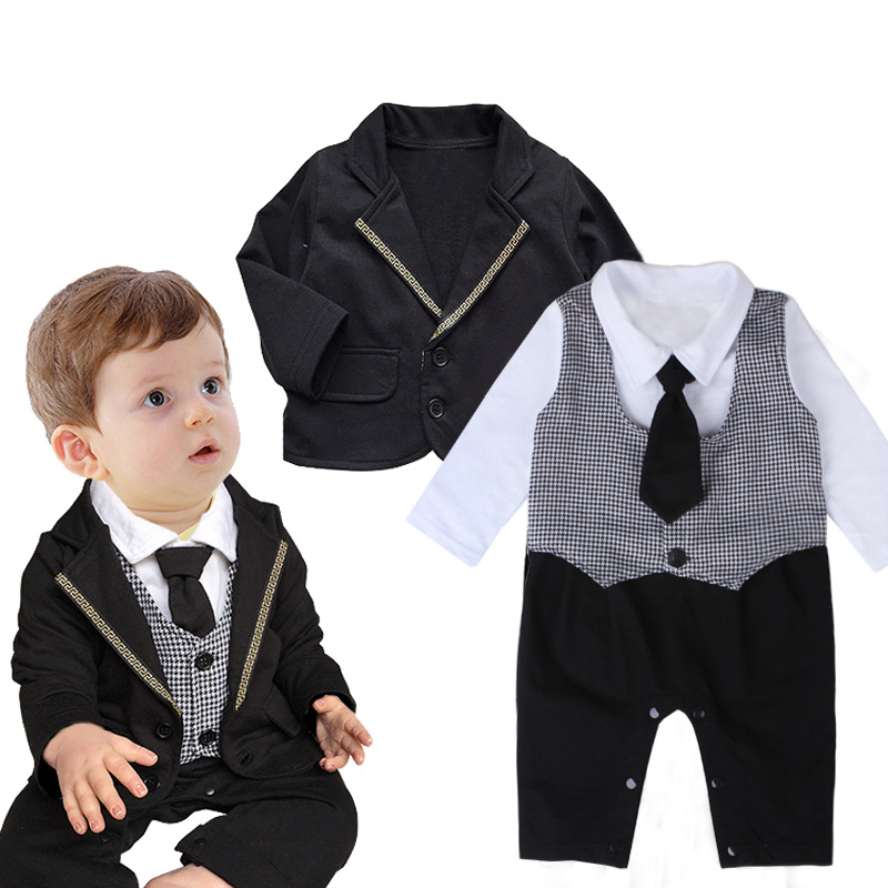 6781a86b0a60 Get Quotations · Baby Boy Gentleman Tie Rompers Clothes Jumpsuit + Long  Sleeved Coat Infant Boy s Cotton Gentleman Formal