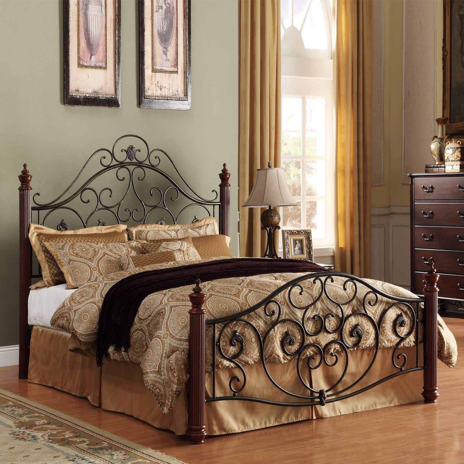 Metro Shop TRIBECCA HOME Madera Graceful Scroll Bronze Iron Metal Queen-sized Bed-Madera Deco Queen Metal Bed