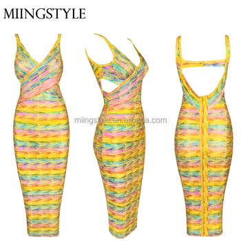 2016 Hot Sales women clothing evening Cocktail dress , bodycon v neck bandage ladies dress party women