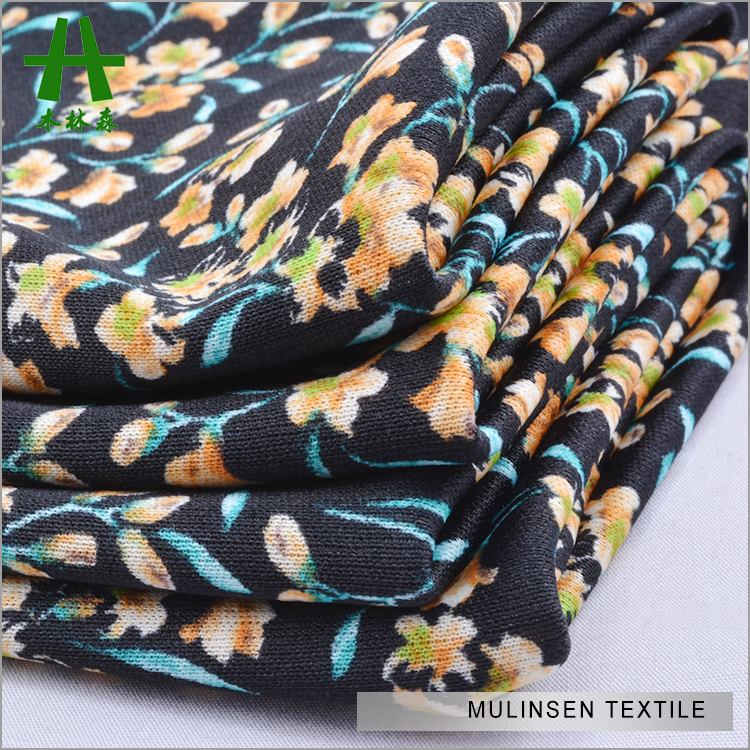 Mulinsen Textile 100% Polyester DTY Interlock Small Flower Printed Knitwear Fabric