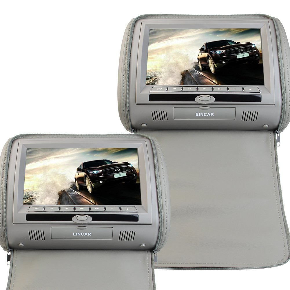 EinCar Grey Color Pair of Headrest 9 inch LCD Car Pillow Monitors with Region Free DVD Player Dual Screen USB SD IR FM Transmiyyer with Video Games Controller