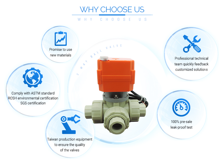 PPH DC 24V motorized 1/2 inch 3 way electric motor ball valve