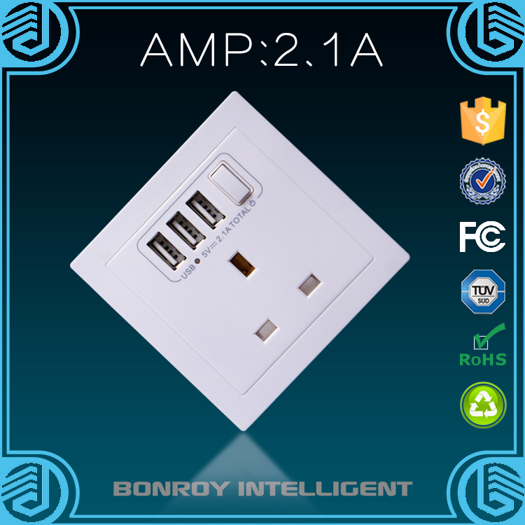 The high quality square shaped intelligent electrical in wall sockets with usb chargers