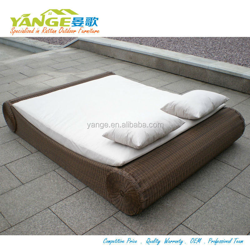Round Rattan Daybed Rattan Outdoor Cabana Beds