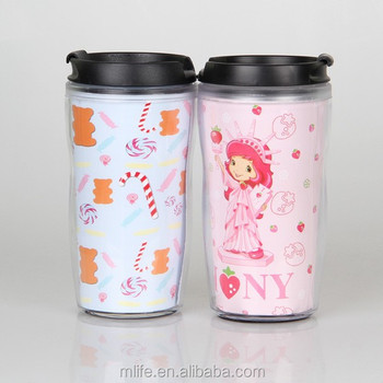SGS approved 250ml Double wall plastic tumbler with 4 color print paper