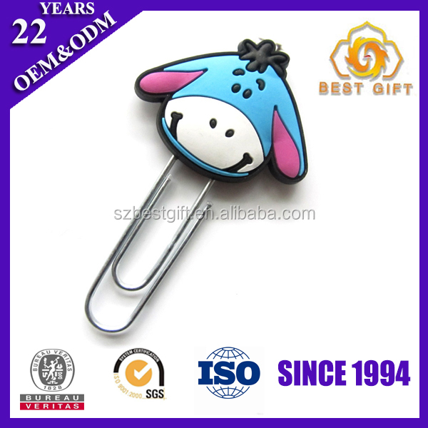 Cute birthday gift pvc animal clip bookmark for kids
