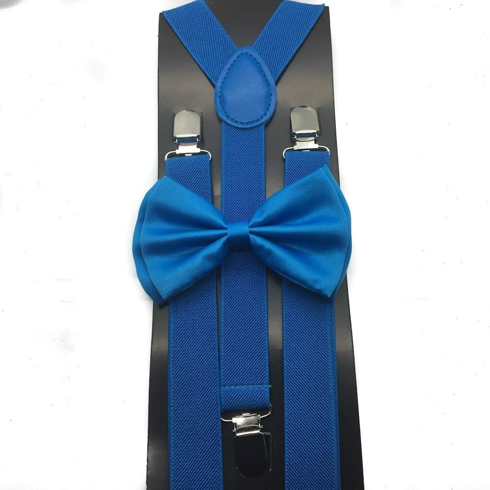 Awesome Blue Wedding Accessories Adjustable Bow Tie & Suspenders