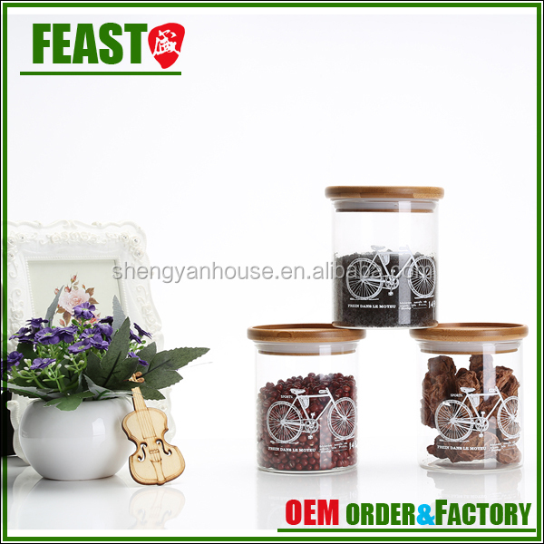 Glass Herb Storage Jars , Sealing Bamboo Lid Daily Seal Storage Glass Jars  With Lid