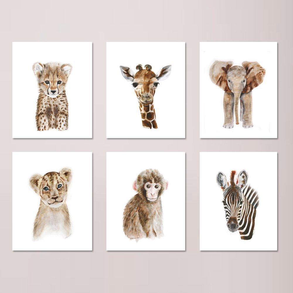 Safari Nursery Print Set of 6 Prints, Wildlife Portraits, Jungle Baby Animal Prints: Lion, Giraffe, Elephant, Zebra, Monkey, Cheetah - Different Sizes Available