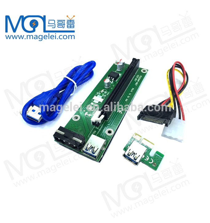 4 pin riser pci-e x1 x16 usb 3.0 mining machine pcie riser bitcoin mining card