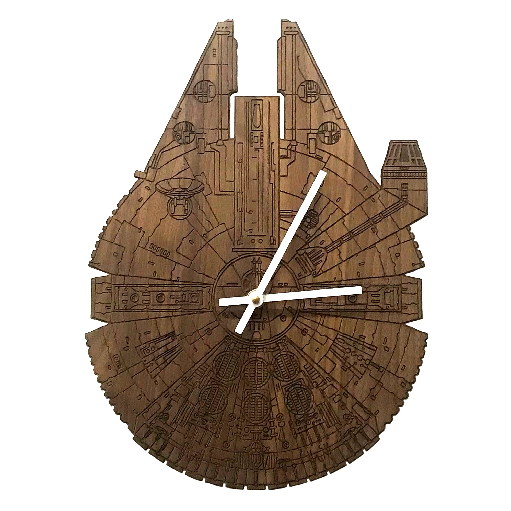 Star Wars Millennium Falcon Laser Engraved Wall Clock by Inked and Screened (Walnut - Standard)
