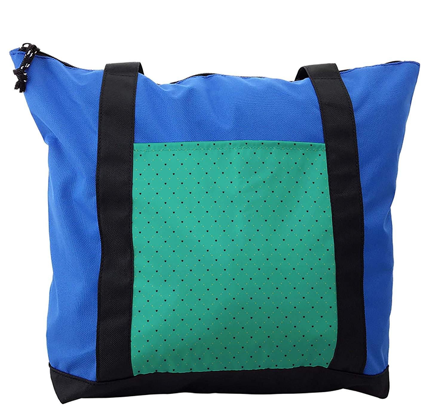 Lunarable Emerald Shoulder Bag, Little Hearts Checkered, Durable with Zipper