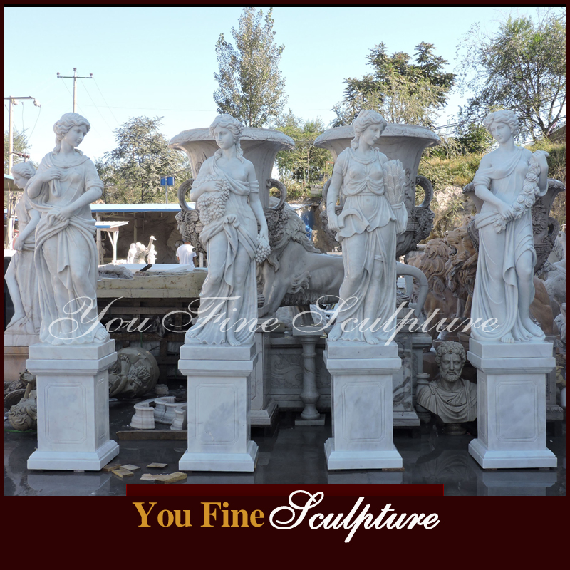 Classic Designs Four Season Lady marble garden statuary