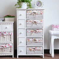 Solid wood furniture storage wooden cabinet with rattan baskets and drawers