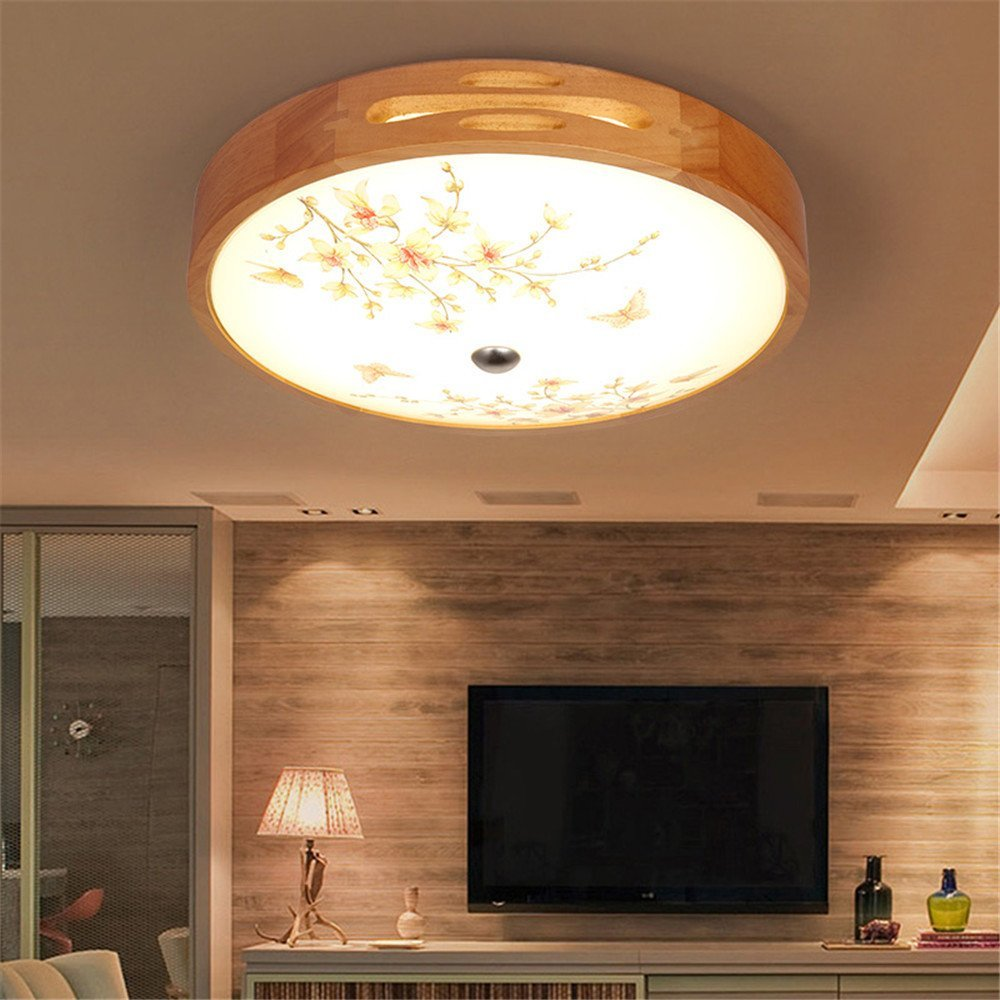 Modern LED Pendant Flush Mount Ceiling Fixtures Light New Chinese circular solid wood ceiling lamp creative pastoral lamp Japanese light three color, 450mm
