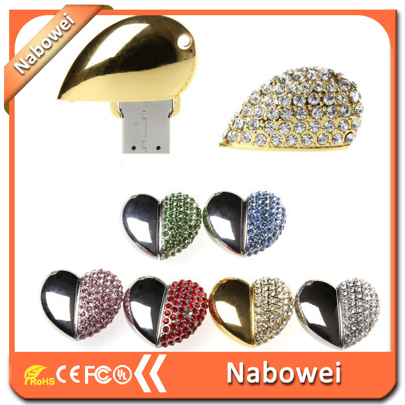 Promotional USB full of diamond jewelry USB 8 g 1 g, 2 g, 4 g 16 g and 32 g flash drive 2.0 USB memory sticks the shape of the h