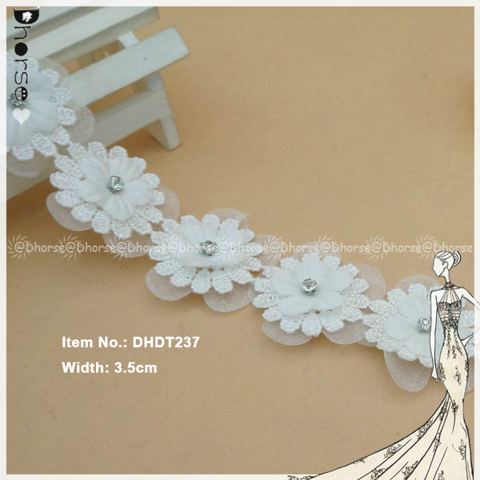 Organza net tulle cotton 3D embroidery lace trim with clear stone DHDT237