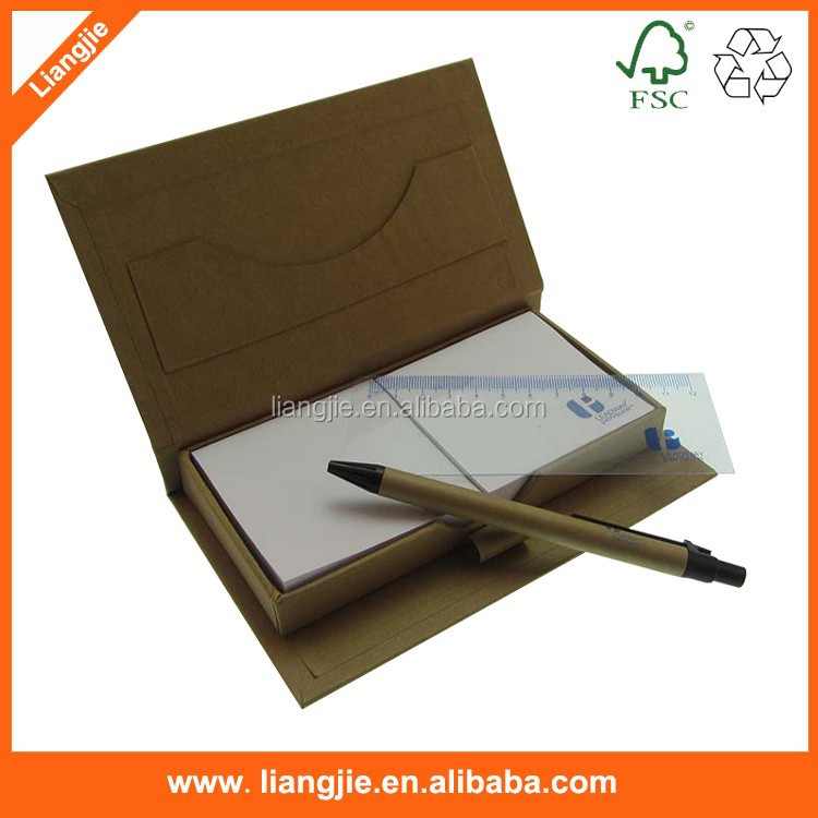 Customized notes,memo pad with stationery set pen and plastic ruler