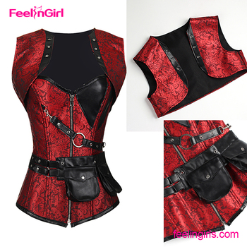 f70683aa590 Women's Plus Size Retro Gothic Steampunk Corset Spiral Steel Boned Corset  Bustiers With Pouch Belt - Buy Gothic Steampunk Corset,Steel Boned ...
