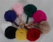 colorful rabbit fur pompons keychain / fur ball key chain / rabbit fur pom poms