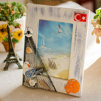 New Wooden Photo Frame with Shell Environmental Home Decoration Ocean Theme Picture Frame Interior Decoration Promotional Gifts