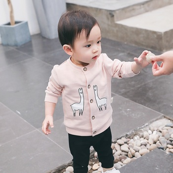 Wholesale spring autumn classic unisex cute infant jacket cotton little baby girl coat 1807