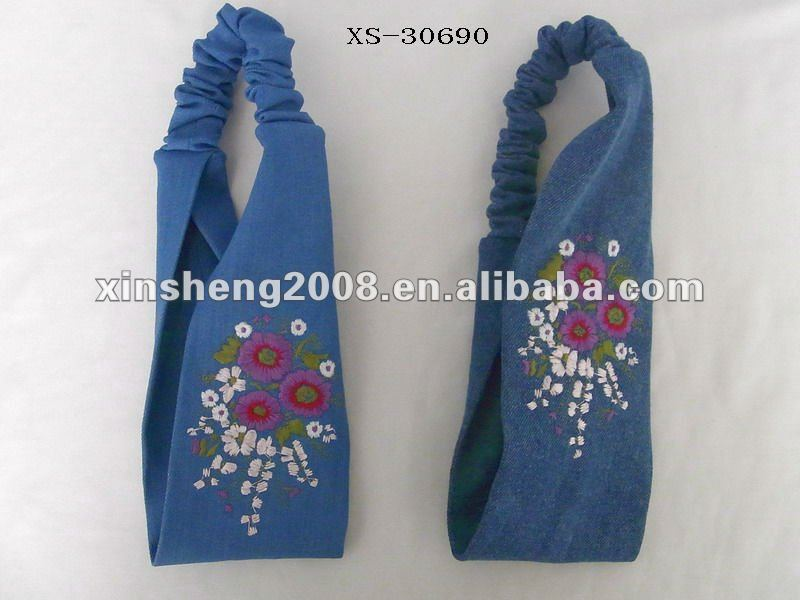 2012 new Embroidered elastic flower hair ornament