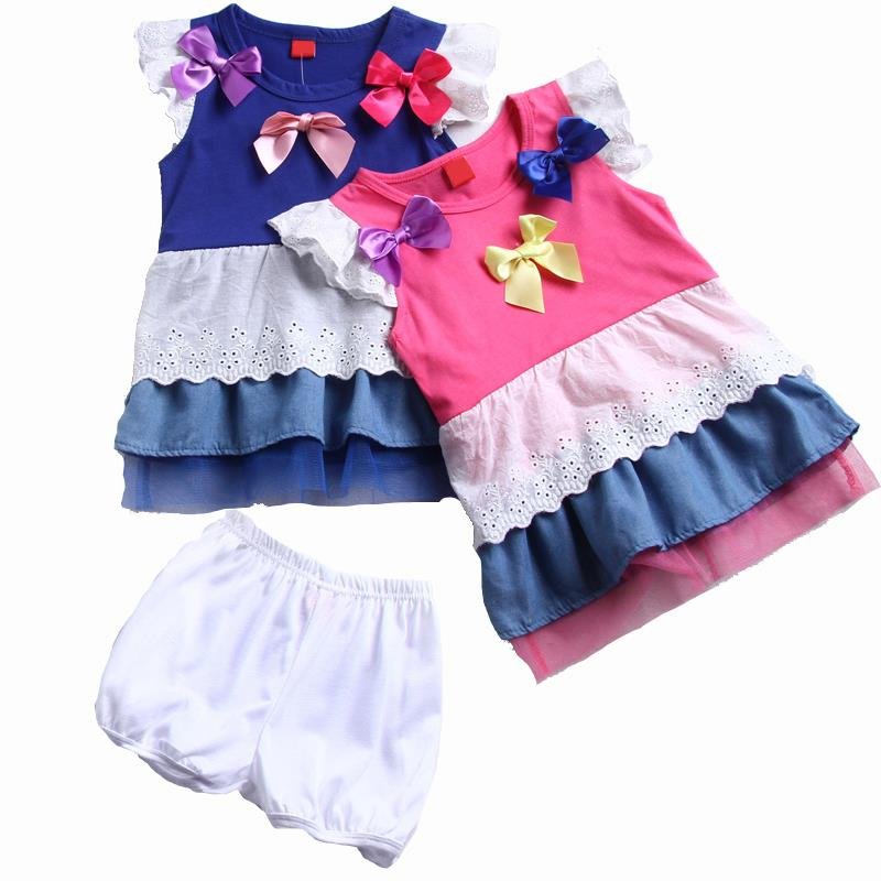 2015 Summer Baby Girls Clothing Set Lace Bow Kids Girl Dress Set Children Dresses Princess Sleeveless + short pants