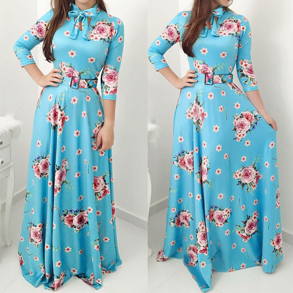e7aeada9f9d Plus Size Women Maxi Dress Floral Print Bow Tie Long Sleeve Party ...