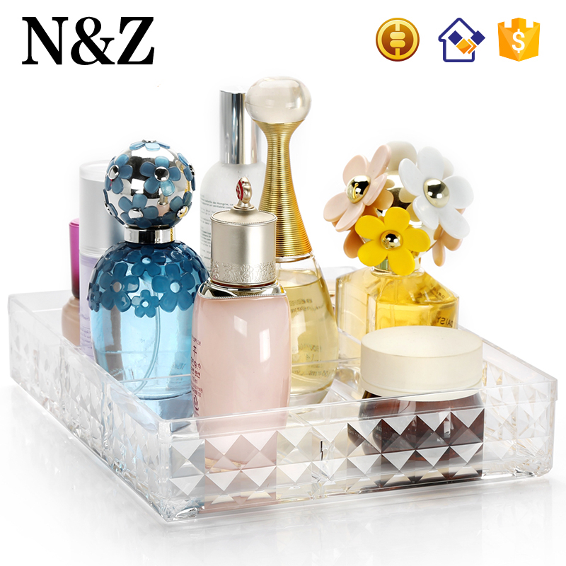 NZ Y-1048 New Diamond Design Cosmetics Prefume Organizer Clear Acrylic Makeup Storage Box