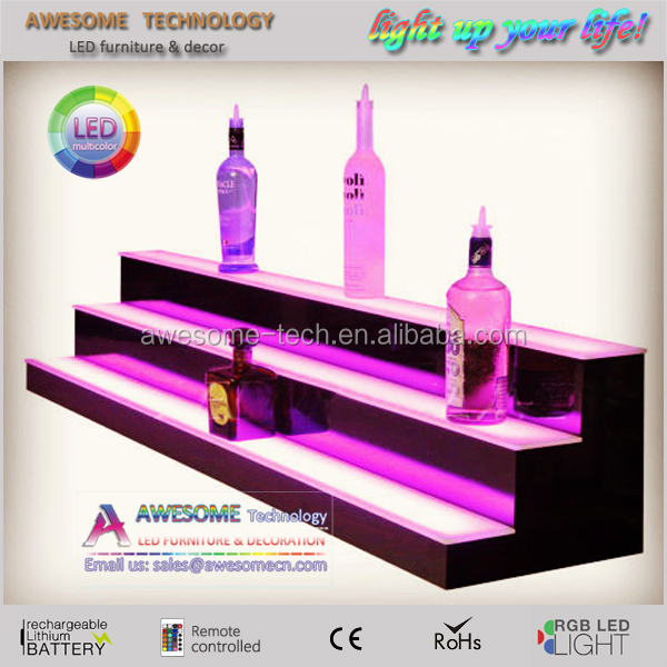 "Liquor Bottle Product Display Great for Home Bars LED Lighted 92"" Wall Shelf"