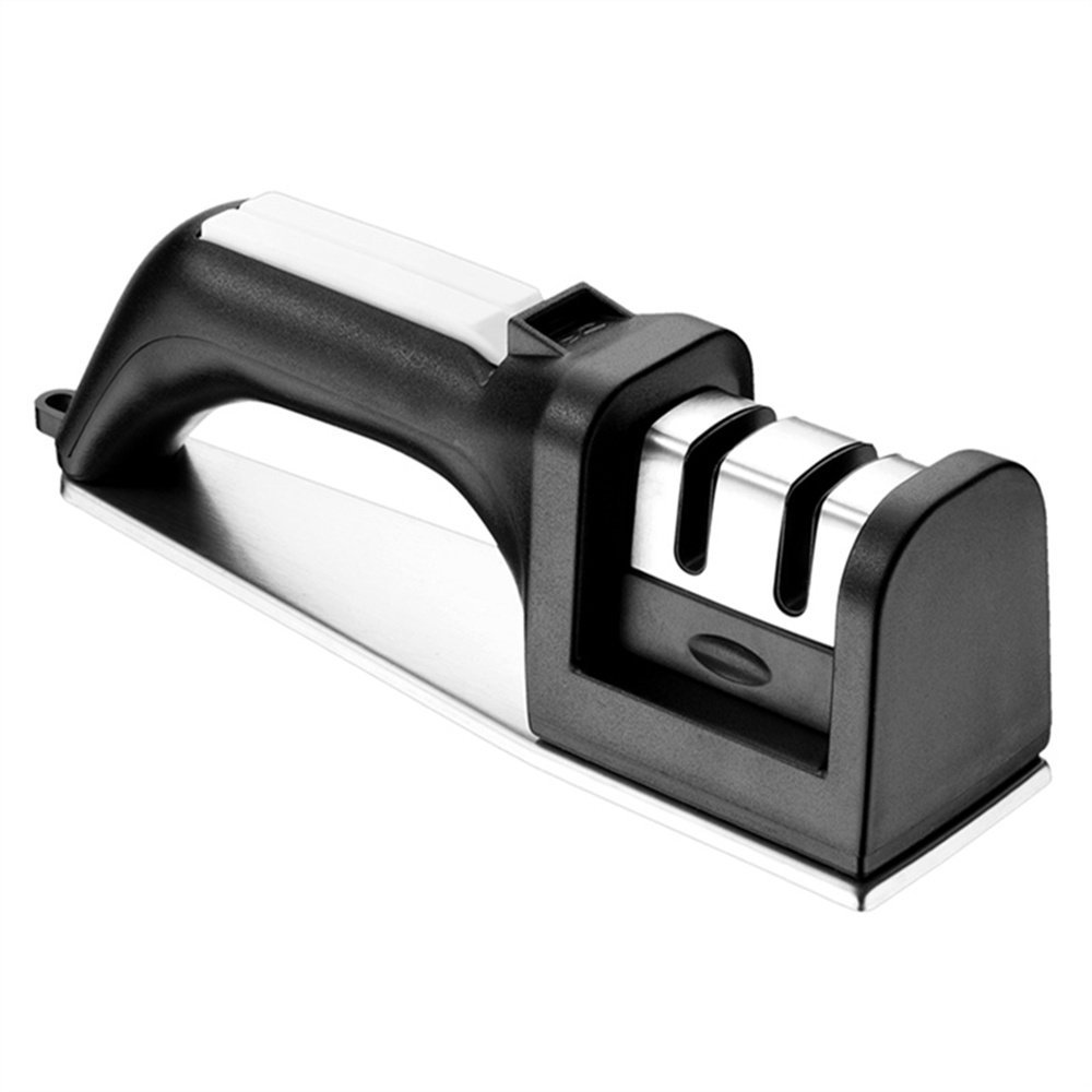Nicekitchen Kitchen Straight and Serrated Knives 2 Stage Manual Chef Knife Sharpener, with Diomand Abrasives, Black