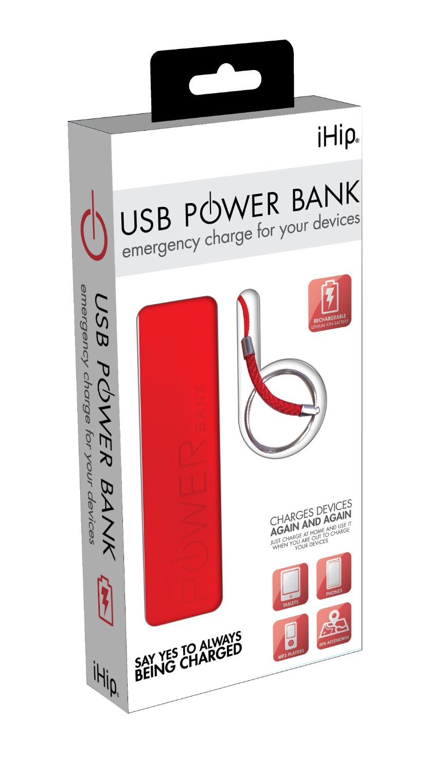 iHip 2500mAh Universal Mobile Micro USB Power Bank portable device charger for iPhone, iPod, Galaxy Smartphones, tablets, etc