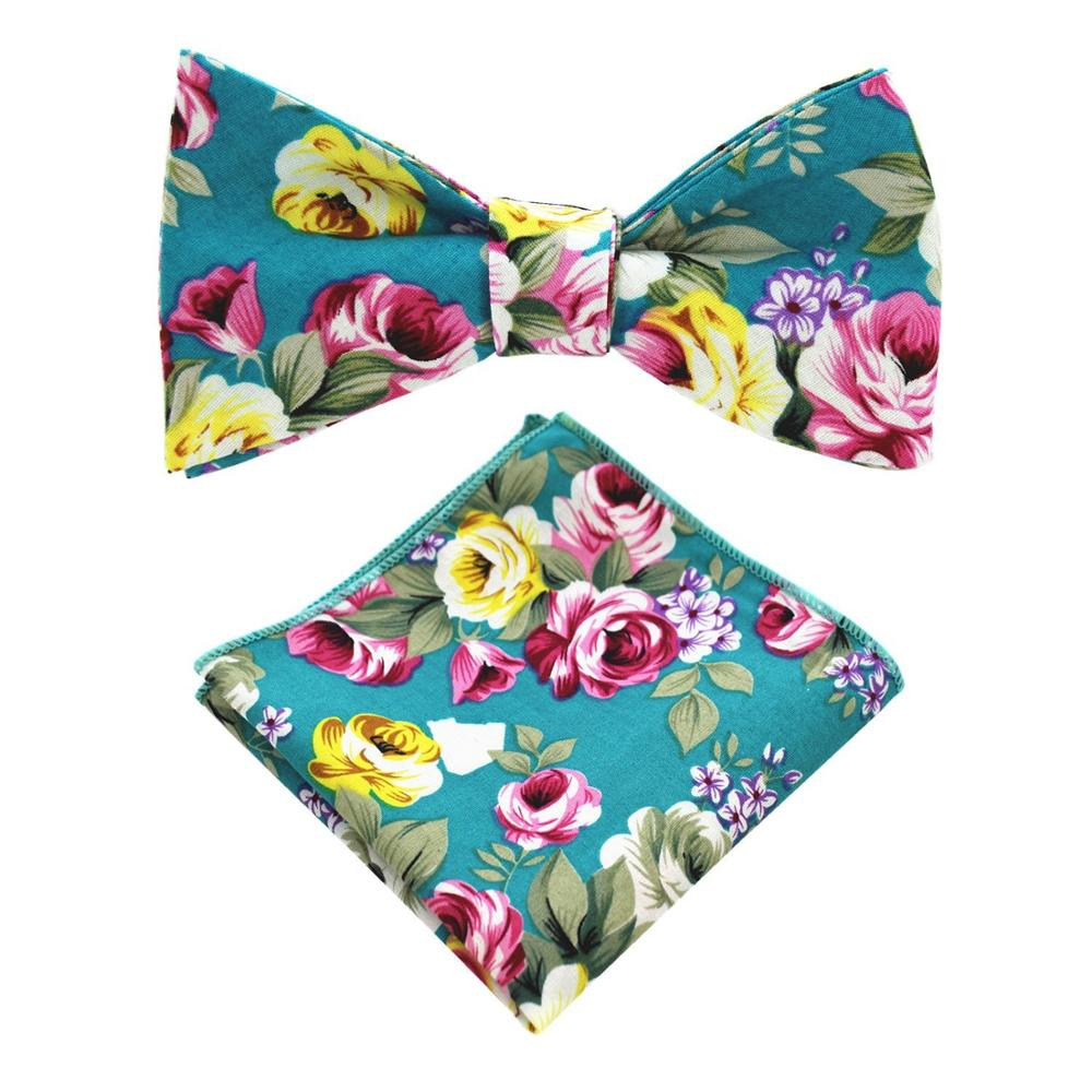Top quality factory direct fashion custom mens floral bowtie set