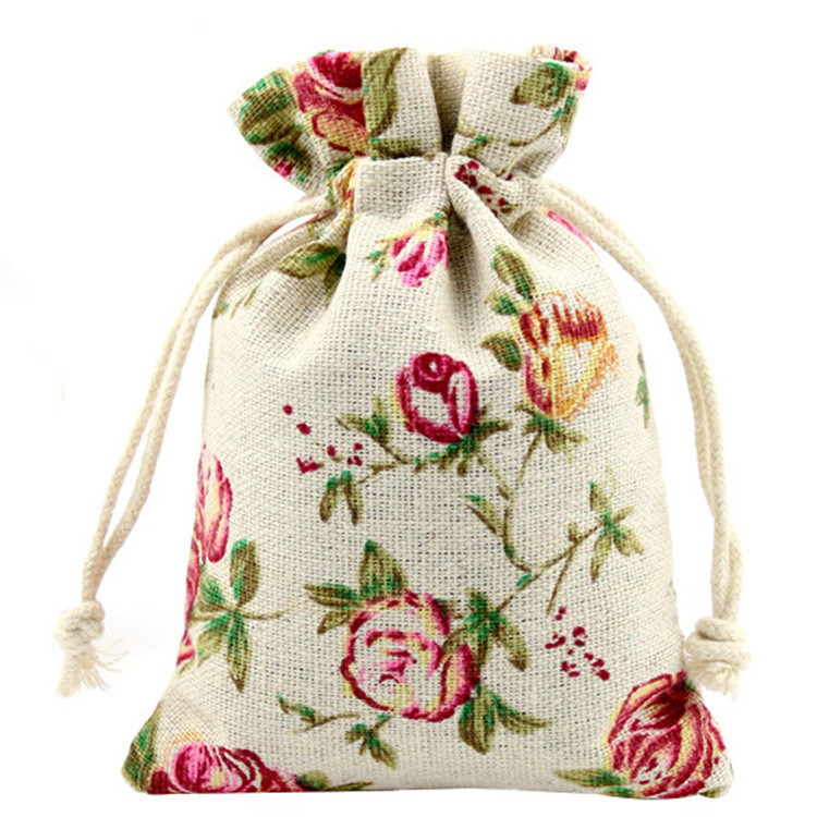 Fancy private custom gift jute 100% hemp drawstring bags