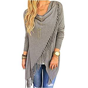 Womens Sweater - SODIAL(R)Womens Capes And Ponchoes Oversized Sweater With Tassel Turtleneck Sweater (Gray,M)