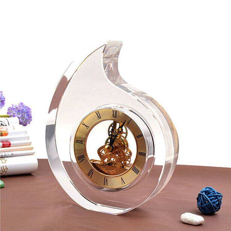 Personalized Customize Office Decoration Desk Table K9 Crystal Glass Clock For Wedding Souvenirs Business Gifts