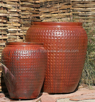 Tall Round Glazed Outdoor Ceramic Pots Large Garden Red