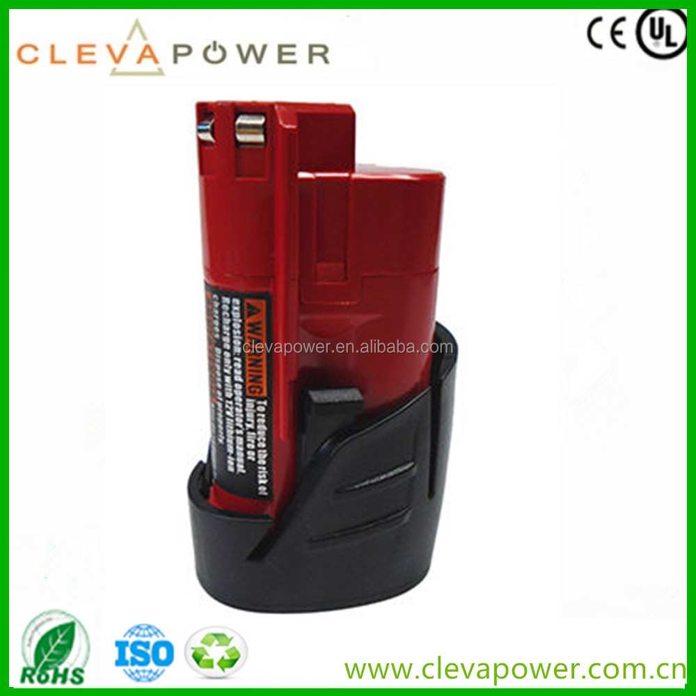 CLEVA 12V Rechargeable lithium battery for Milwaukee M12 Cordless Drill 48-11-2401