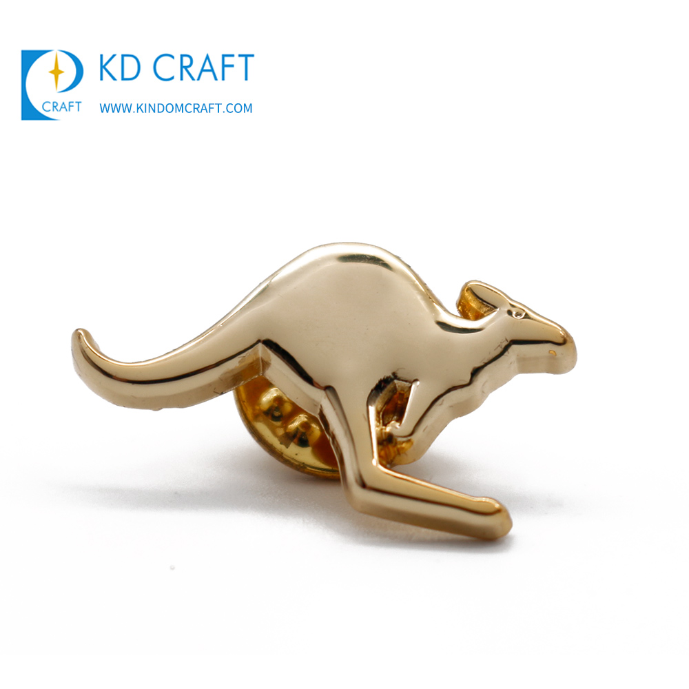 Wholesale custom metal zinc alloy die struck 3d shiny gold plated australia kangaroo pins for souvenir