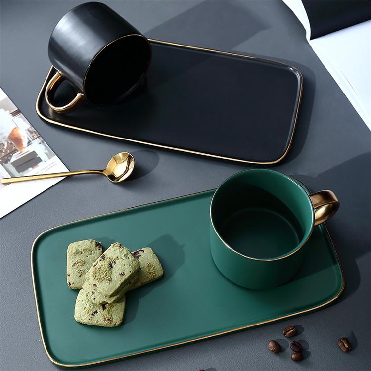 Wholesale fancy matte green black porcelain tea espresso coffee cups with gold rim