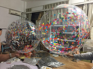 Wholesale 36inch big transparent clear round plastic balloons with confetti for wedding decoration