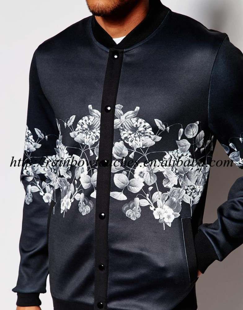 Wholesale black bomber scuba with floral man jacket print