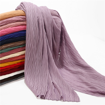 Hot sale pleated crinkle hijab scarf premium chiffon shawls and wraps best price