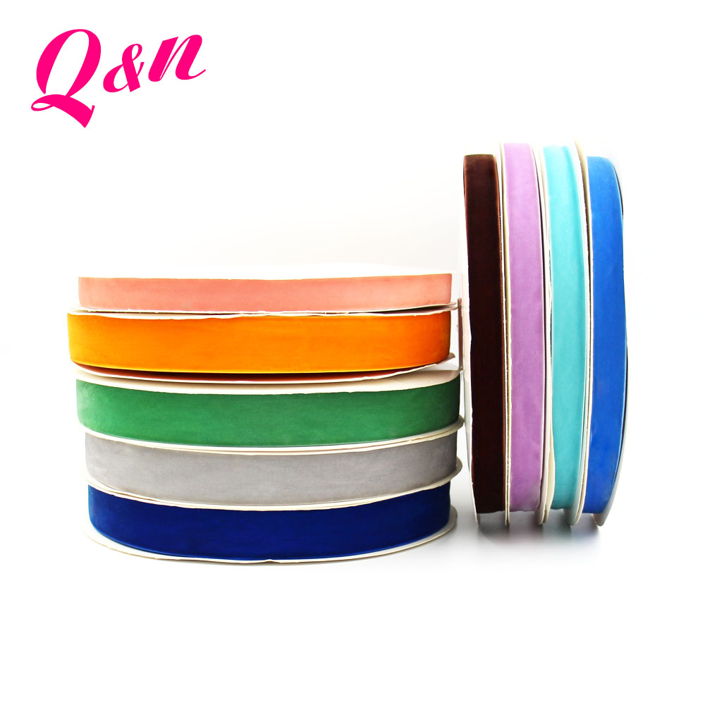 wholesale gift packing 100% polyester multi color nylon single face velvet ribbon