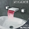 Contemporary Widespread Wall Mount Waterfall 3 Colors LED Bathtub Sink Faucet