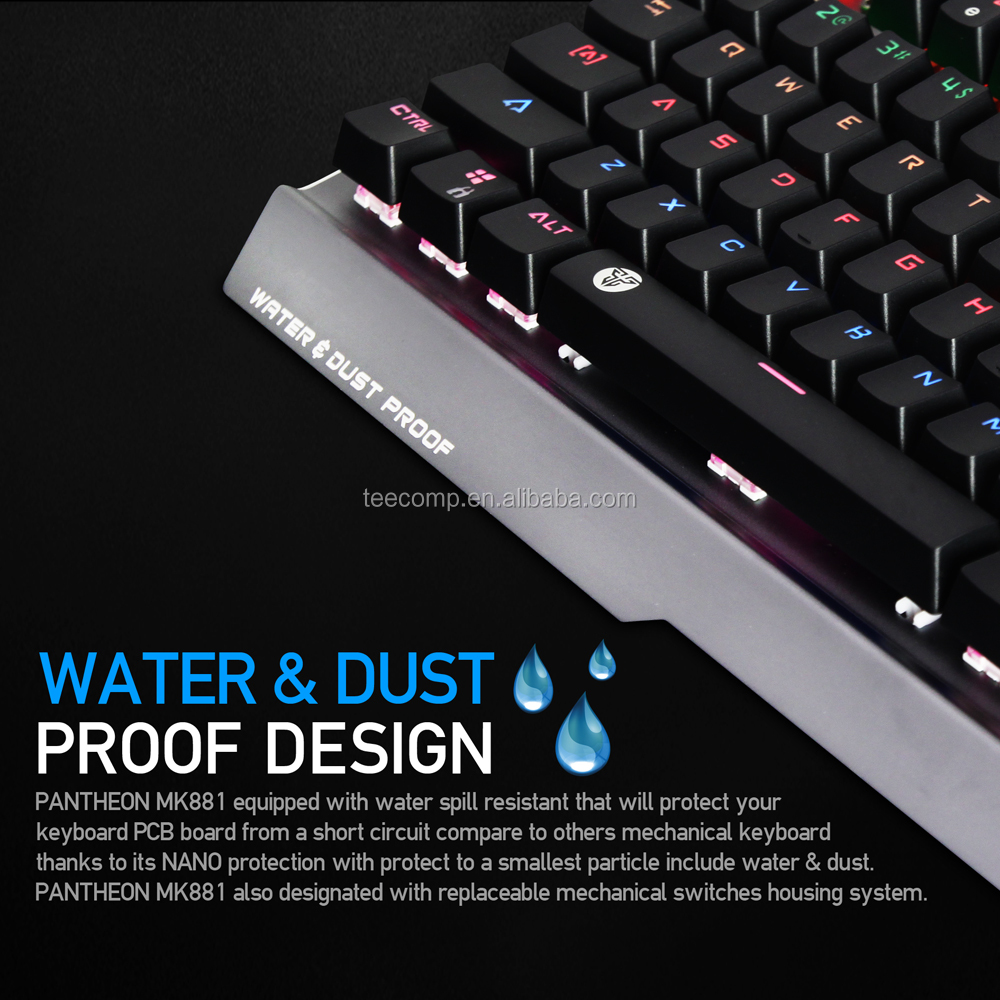 Fantech Mk881fantech Rgb Backlit Anti Ghost Full Keys Anvogo 5050  Replaceable Mechanical Switches Outemu Ergonomic Keyboard - Buy Backlit  Mechanical