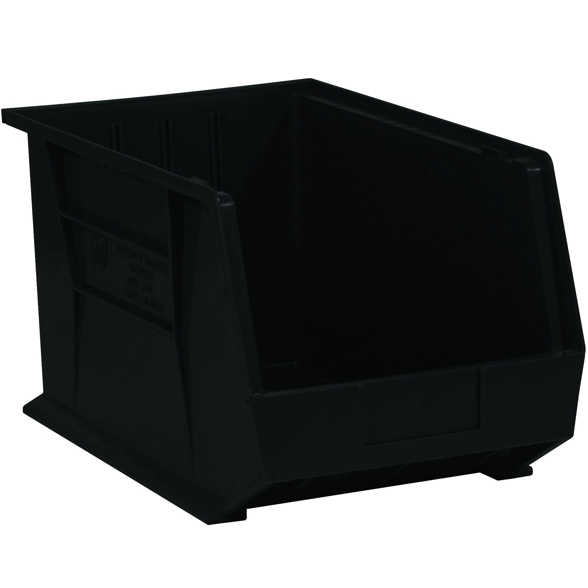 "Aviditi BINP1611K Plastic Stack and Hang Bin Boxes, 16"" x 11"" x 8"", Black (Pack of 4)"